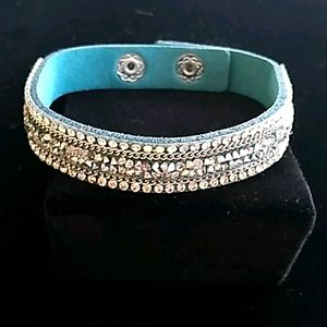 Aqua Colored Diamond Leather Like Bracelet.